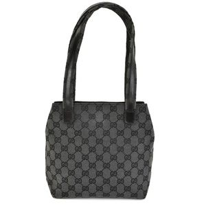 GUCCI Dark Gray/Black GG & Leather Shoulder Bag rz